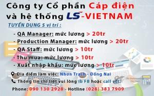 Công ty Cổ phần Cáp điện  và hệ thống LS  - VIETNAM tuyển dụng